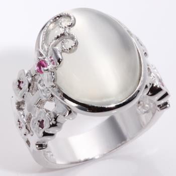 【寶石方塊】藏愛蝶舞天然貓眼月光石戒指-有貓眼效應-925純銀飾