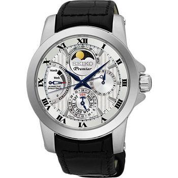 SEIKO PREMIER 互動式人動電能月相男用腕錶-40mm/5D88-0AG0P(SRX011J2)