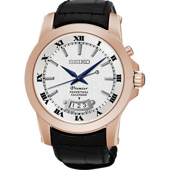 SEIKO PREMIER 情定羅馬時尚玫瑰金石英男用腕錶-40mm/6A32-00X0P(SNQ152J1)