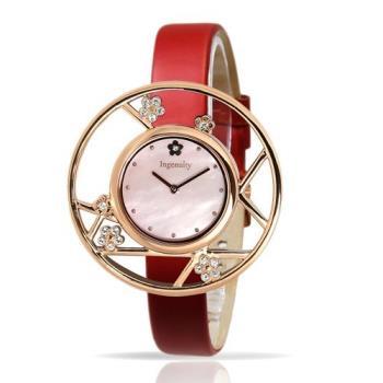 Ingenuity 時尚典雅女錶梅花款 玫瑰金框 熱情紅皮帶