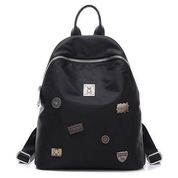 【Acorn*橡果】韓版復古徽章牛津布防水後背包6543(黑色)