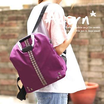 【Acorn*橡果】韓版學院鉚釘牛津布防水後背包6541(紫色)