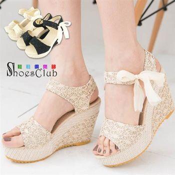 【ShoesClub】【052-2916】夢幻蕾絲金蔥側綁帶厚底楔型涼鞋.2色 黑/米