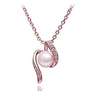 【米蘭精品】鍍18K金項鍊純銀珍珠吊墜時尚氣質鑲鑽73ce105