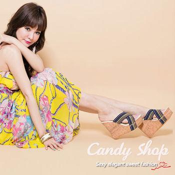 Candy小舖 交叉綁帶契型涼鞋-(藍色)-0096577