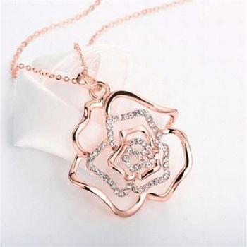 【米蘭精品】鍍18K金項鍊純銀鑲鑽吊墜鏤空玫瑰復古典雅73ce122