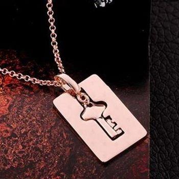 【米蘭精品】鍍18K金項鍊純銀吊墜歐美風個性鑰匙方牌73ce145