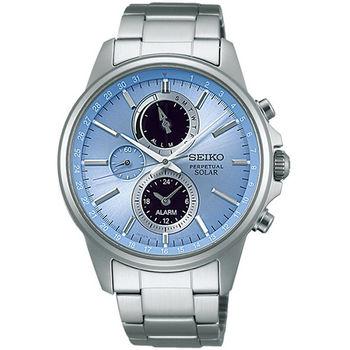 SEIKO 精工 SOLAR 三眼計時太陽能時尚腕錶-42mm/V198-0AC0B(SBPJ001J)