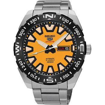 SEIKO 精工5號橘色公路賽車機械腕錶-黃/45mm/4R36-04V0Y(SRP745J1)