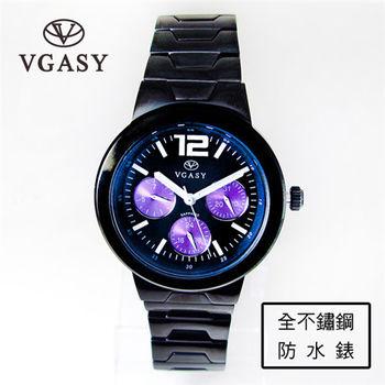 VGASY時尚三眼設計日期星期雙時間不銹鋼錶