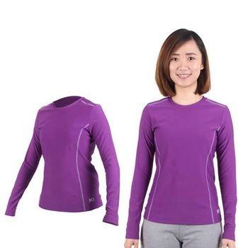 【MJ3】女圓領吸排刷毛保暖衣-長袖T恤 紫