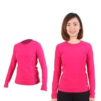 【MJ3】女圓領吸排刷毛保暖衣-長袖T恤 桃紅