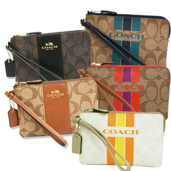 【COACH】熱賣款馬車LOGO直條紋皮革拼接PVC手拿包零錢包(5款任選)