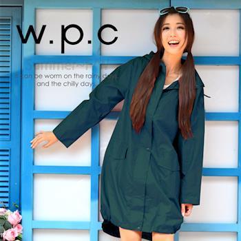 【w.p.c.】束口綁繩款。時尚雨衣/風衣(R1003)_藍綠