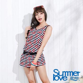 【SUMMERLOVE夏之戀】海軍風連身裙二件式泳裝(S15759)