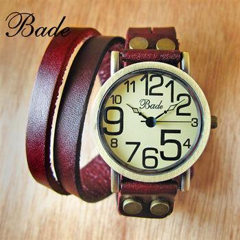 Bade復古懷舊質感皮革皮製繞環造型錶