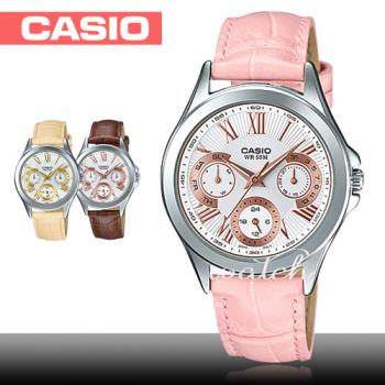 【CASIO 卡西歐】不敗錶款_簡約優雅三眼計時_皮革女錶(LTP-E308L)