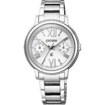 CITIZEN xC 光動能羅馬浪漫日曆女用腕錶-銀/32mm/FD1090-54A