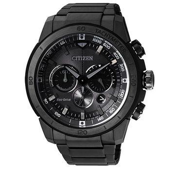 CITIZEN ECO-Drive黑色世紀光動能計時腕錶-黑/46mm/CA4184-81E