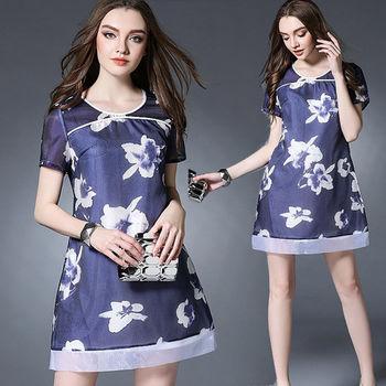【麗質達人中大碼】藍色印花洋裝(XL-5XL)