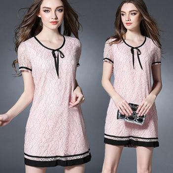 【麗質達人中大碼】粉色蕾絲洋裝(XL-5XL)