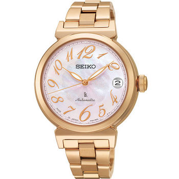 SEIKO LUKIA 高貴玫瑰金珍珠貝時尚女用機械腕錶 林依晨代言款 /33mm/4R35-00J0P(SRP870J1)