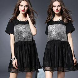 麗質達人中大碼蕾絲拼接連身裙(XL-5XL)
