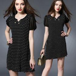 麗質達人中大碼點點連身裙(XL-5XL)