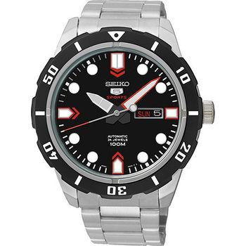 SEIKO 精工 5號盾牌24石 時尚運動機械腕錶-黑/44mm/4R36-04J0D(SRP673J1)