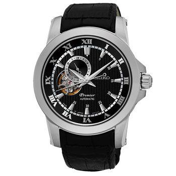SEIKO Premier 羅馬世紀24小時顯示開芯機械錶-黑/41mm/4R39-00L0P(SSA277J2)