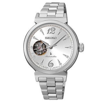 SEIKO LUKIA晶鑽開芯機械女用腕錶-銀/34mm/4R38-00N0N(SSA891J1)