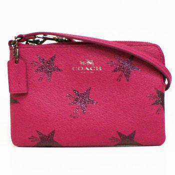 【COACH】新款燙銀LOGO 星星圖案防刮PVC L型拉鍊手拿包零錢包(桃)