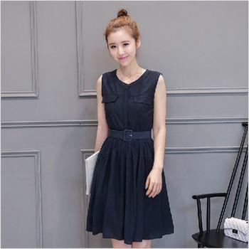 (現貨+預購 RN-girls)-韓版夏季新款時尚簡約A字連身裙