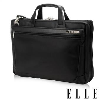 【ELLE HOMME】紳士皮革公事包IPAD14吋筆電置物層側背手提兩用設計(黑EL74166A-02)