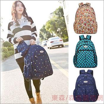 【YABIN台灣總代理】 時尚多功能後背媽媽包-藍色小花