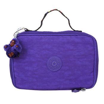 KIPLING -TILEPURPLE彩色提/拉鍊手拿旅行萬用包紫/絨毛星星吊飾