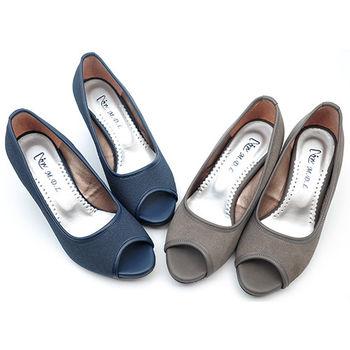 【 cher美鞋】露趾魚口楔型跟鞋♥灰色/藍色♥477-192