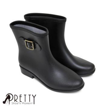 【Pretty】時尚霧面金屬扣環短筒雨靴-黑色