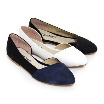 【Pretty】法式優雅側縷空平底尖頭鞋-藍色、白色、黑色