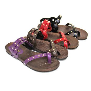 【Pretty】休閒兩穿鉚釘套趾平底涼拖鞋-紅色、黑色、咖啡色、紫色