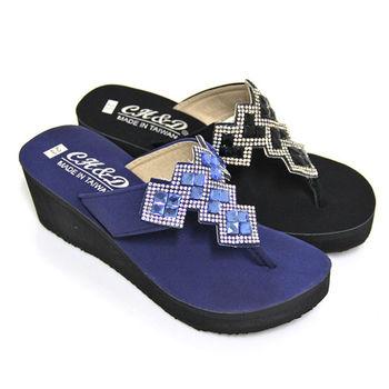 【Pretty】璀璨方格鑽飾堆疊T字厚底夾腳拖鞋-藍色、黑色