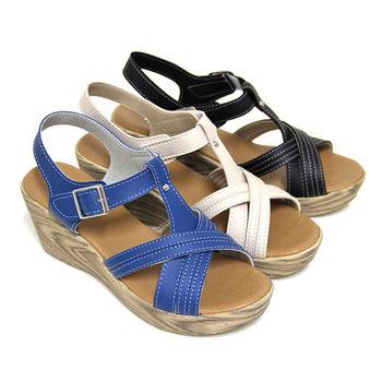 【Pretty】質感交叉沾黏式仿木紋楔型涼鞋-藍色、米色、黑色
