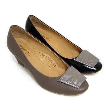 BIS-VITAL 典藏絕品金屬感壓紋梯形義大利進口山羊皮楔型包鞋-灰色、黑色