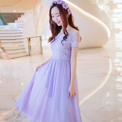 KOVLL中大尺碼紫色刺繡網紗蕾絲連身長裙