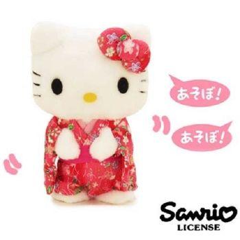 日本進口三麗鷗正版Hello Kitty錄音說話娃娃-和服版