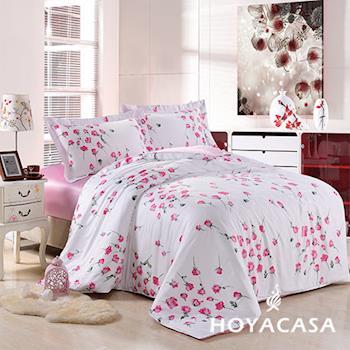 HOYACASA 玫瑰香頌 加大四件式天絲兩用被床包組