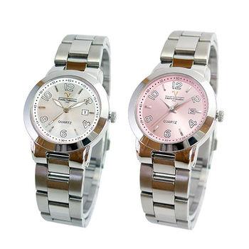 【Valentino】范倫鐵諾時尚不鏽鋼水晶鋼帶錶(二色可選)