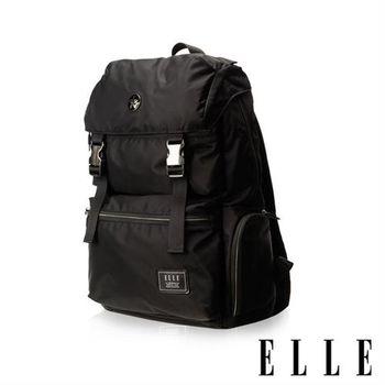 【ELLE HOMME】獨特巴黎鐵塔設計休閒風格 機能後背包(黑 EL83882-02)