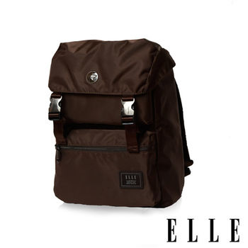 【ELLE HOMME】獨特巴黎鐵塔設計休閒風格 機能後背包(咖啡 EL83881-45)