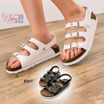 【ShoesClub】【189-P719】三線皮帶釦輕量舒適寬版懶人休閒涼鞋.2色 黑/白